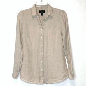 J.Crew 100% Linen Button Down Shirt Size 2P